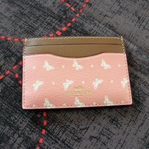 COACH Butterfly Dot Blush Chalk Credit Card Case
